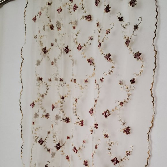 Vintage Sheer Curtain Panel Embroidered Flowers